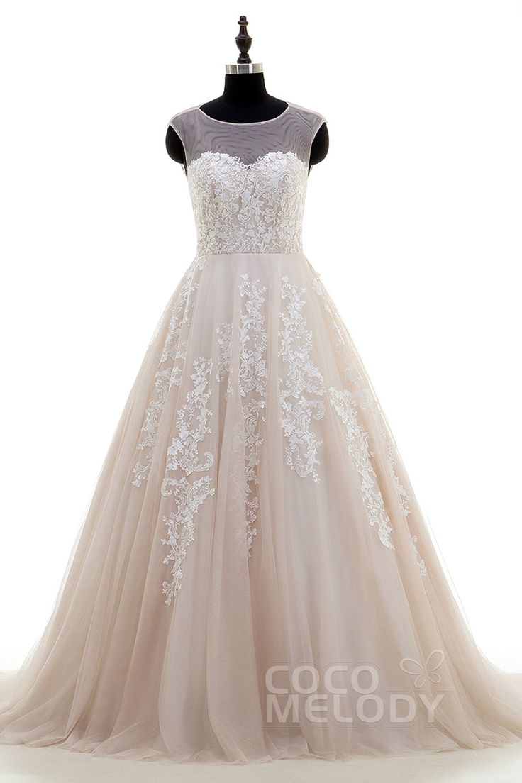 New Arrival A-Line Illusion Court Train Tulle Champagne Sleeveless Key Hole Wedding Dress Appliques CWKT16001 #weddingdress #cocomelody