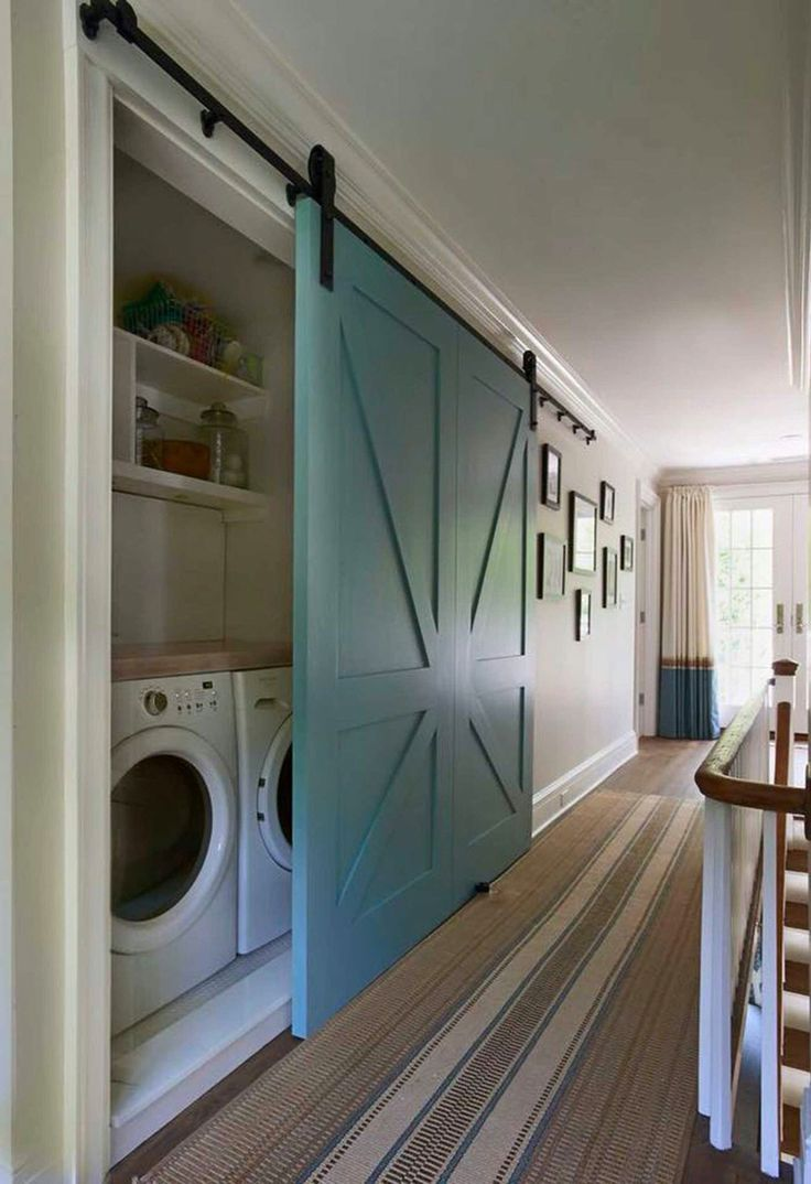 Barn Door to cover the laundry area when space is limited