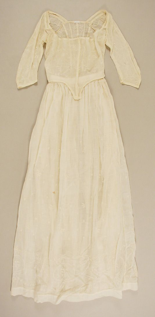Unlined Dress-ca. 1785, French mull  Met Museum