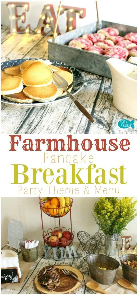 Visit our farmhouse pancake breakfast party, complete with country chic decorations and a delicious feast of breakfast foods | Farmhouse | Farmhouse Breakfast Party | Party Ideas | Party Theme | Adult Party | Breakfast Party | Breakfast | Brunch | Pancake