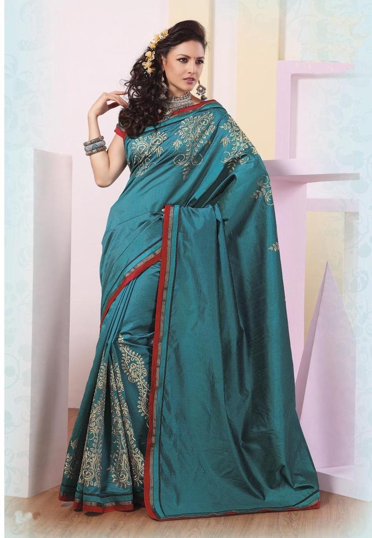 $ 79.30 Blue Silk Saree 21856 With Blouse