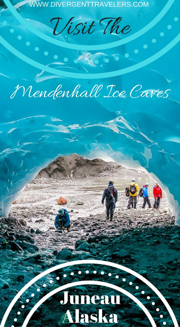 Visit The Mendenhall Ice Caves in Juneau Alaska. Located a short 12 miles outside Alaska's capital city of Juneau, the Mendenhall Ice Caves are ever changing due to melting ice and glacier recession but an absolute wonder to explore. That said, accessing them is no easy feat. Click to read the full travel blog post by the Divergent Travelers Adventure Travel Blog.