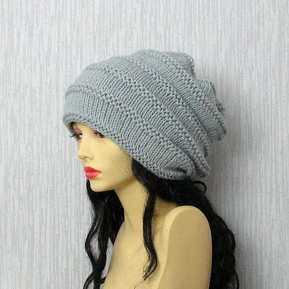Hand Knit Hat  Slouchy Beanie  Beanie  Winter Hat by AlbadoFashion