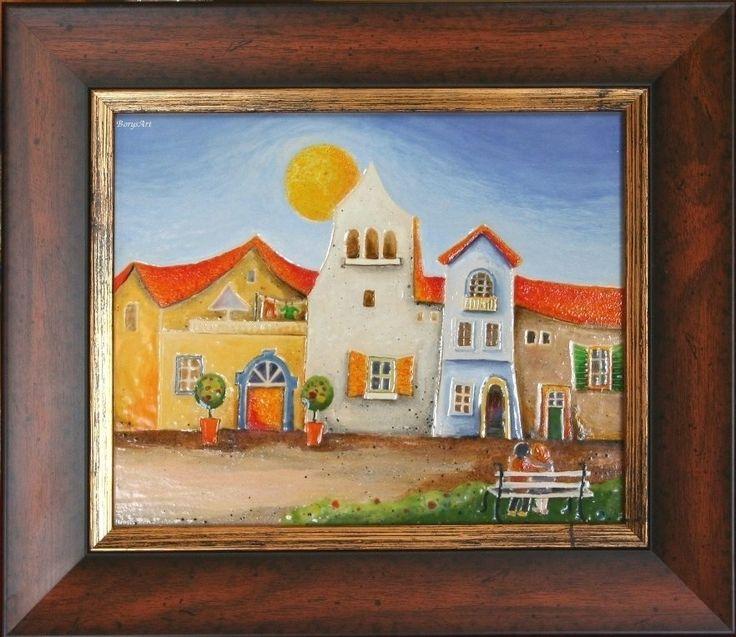 ŁAWECZKA   obraz ceramiczny, majolika Danuta Rożnowska-Borys BorysArt