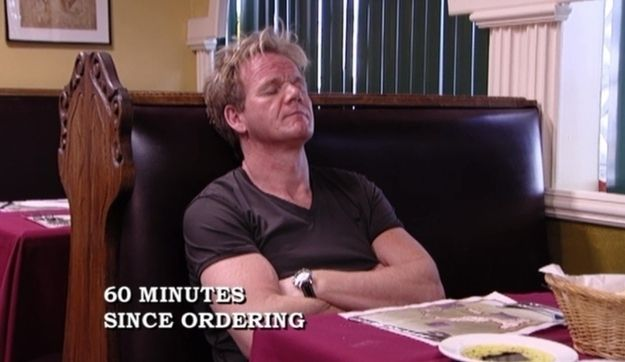 Falling asleep at a restaurant because his order was taking too long. | 33 Things Only Chef Gordon Ramsay Can Get Away With