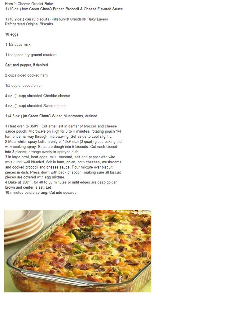 HAM AND CHEESE OMELET BAKE | RECIPES FOR ME | Pinterest