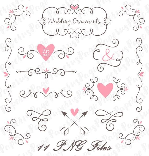 Collection Of Wedding Ornaments Digital Stickers Digital Etsy In 2020 Digital Sticker Wedding Ornament Lettering