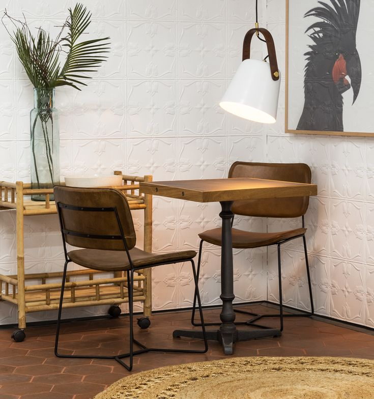 Lena Square Iron Recycled Teak Table Featuring Olev Leather Iron Dining Chair In Chocolate Shop Schots Furniture Teak Table Recycled Timber Furniture Timber Furniture