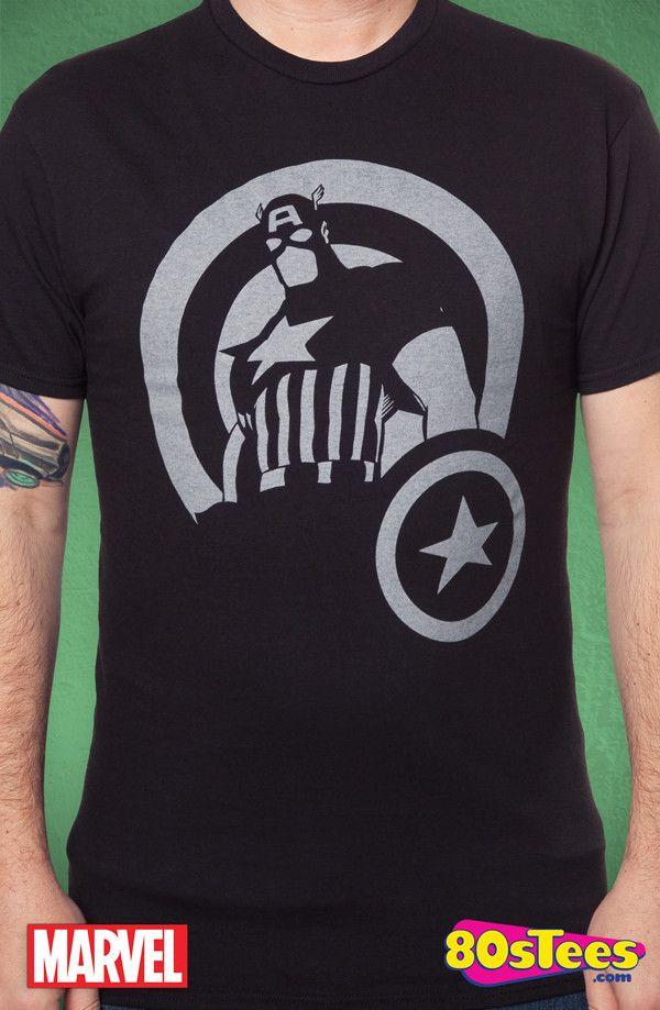Captain America Silhouette T-Shirt: Captain America Mens T-Shirt