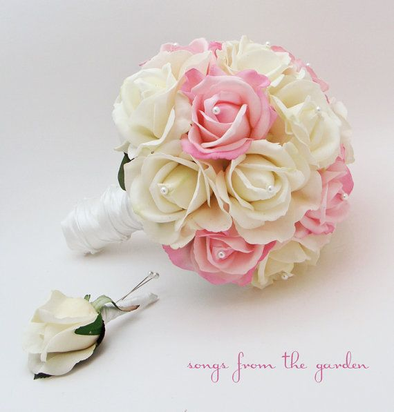 Rose Bridal Bouquet Real Touch Roses White & Light Pink Wedding Bouquet Real Touch Silk Flower Wedding Choose Your Colors