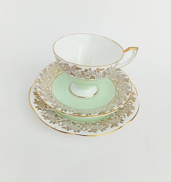 Vintage China Trio Set Mint Green China Tea Cup Saucer and