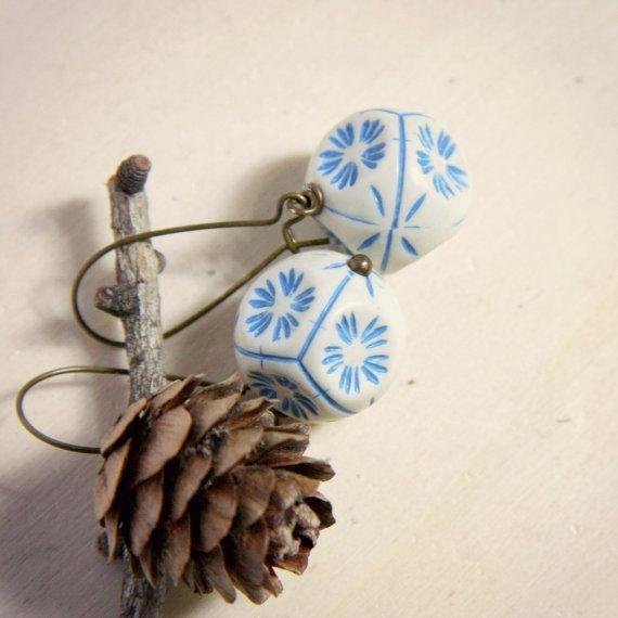 cream and azure earrings  modern geometrical with by nanofactory, $14.50 #earrings #handmade