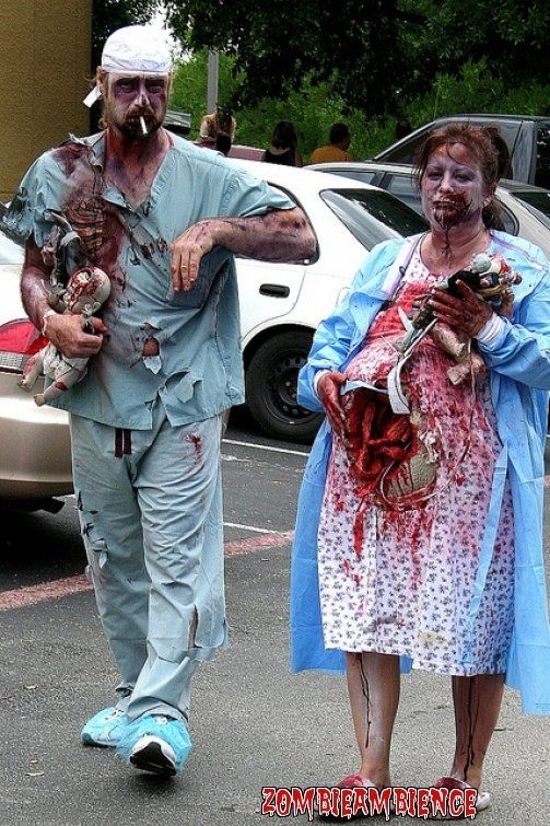 Hahahahaha! Bit much maybe!  Pregnant Zombie and Zombie Doctor