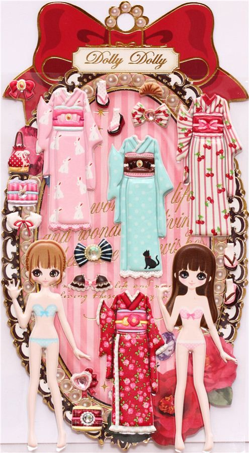 Japanese Kimono girls dress up doll puffy sponge stickers.  I have these and they are so   cool!  Sanrio at Ala Moana in Oahu sells many different themes.