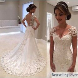 Beading Appliques Wedding Dresses UK Cheap Trumpet Mermaid Bridal Gowns With Short Cap Sleeve