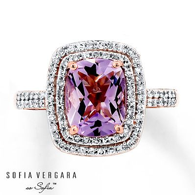 SOFIA VERGARA Ring Amethyst/Diamonds 10K Rose Gold - just take out all the crap around the gem