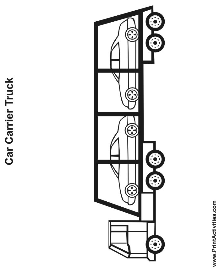 truck coloring page of a car carrier
