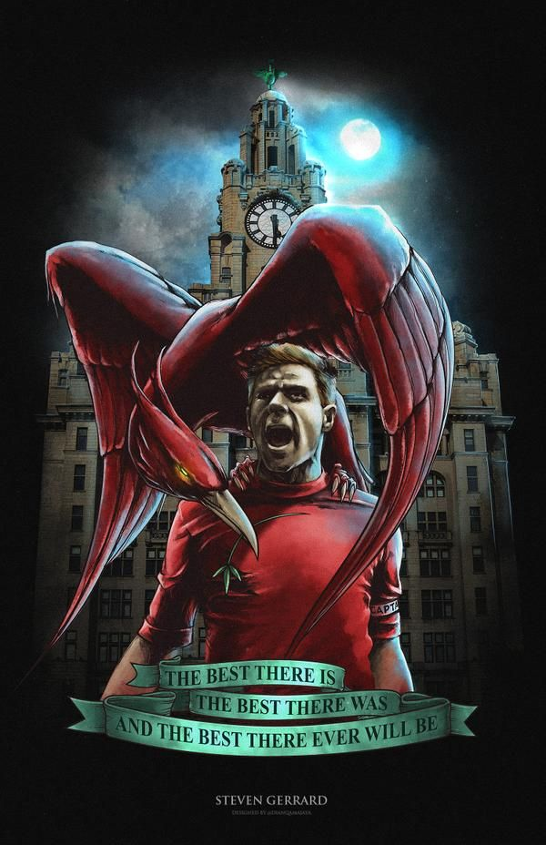 Captain Steven Gerrard with the Liverpool mascot. The credit goes to Twitter GD @dianqamajaya #YNWA #LFC #ThanksStevie