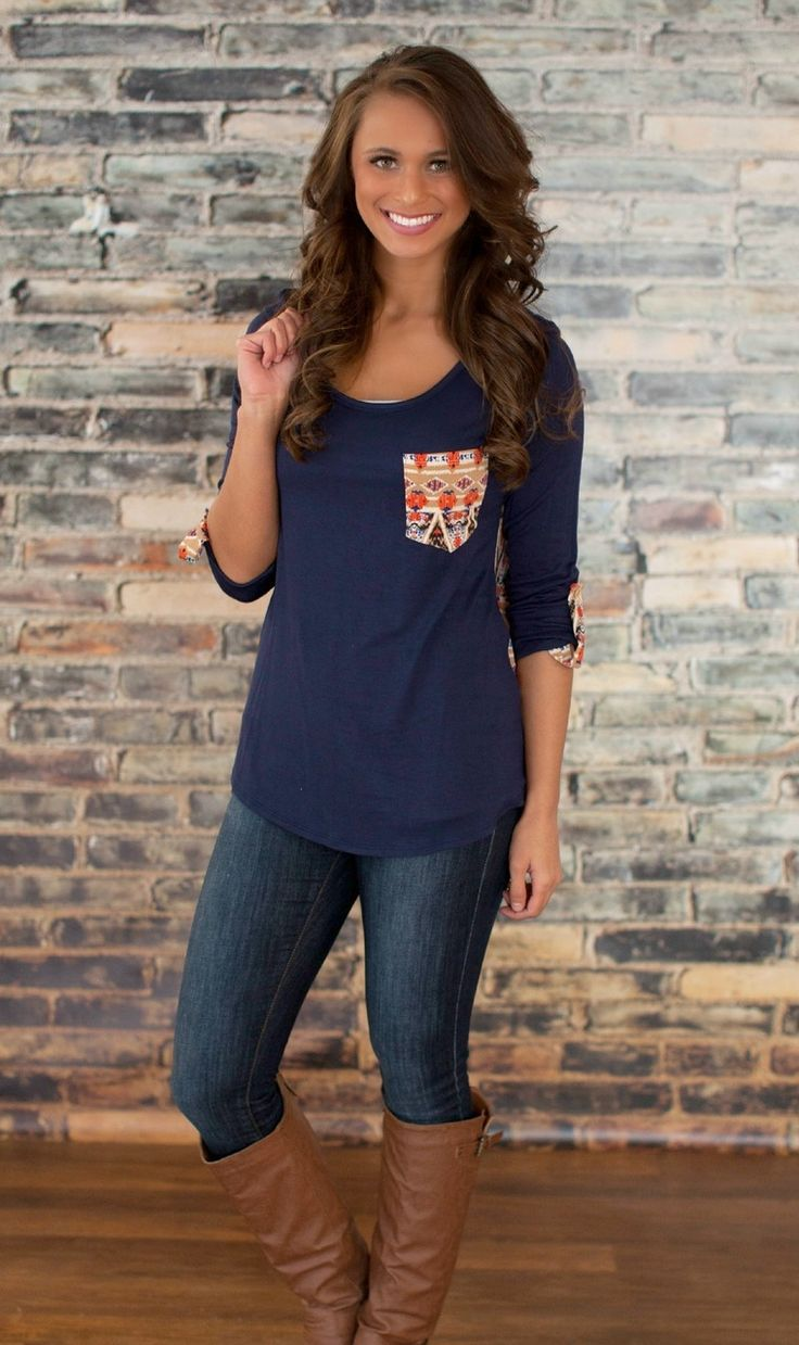 The Pink Lily Boutique - Cast a Spell Navy Blouse, $35.00 (http://thepinklilyboutique.com/cast-a-spell-navy-blouse/)