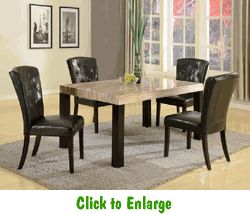 Brand New Misha Dining Table W Marble Top And 4 Side Chair Set