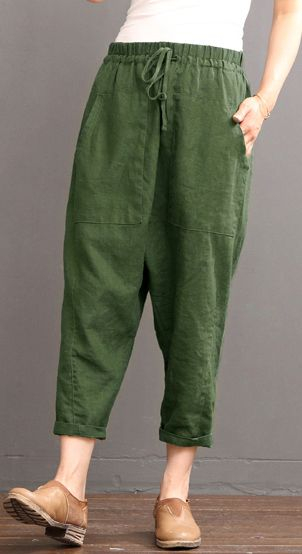 Green Linen pants summer crop pants elastic waist
