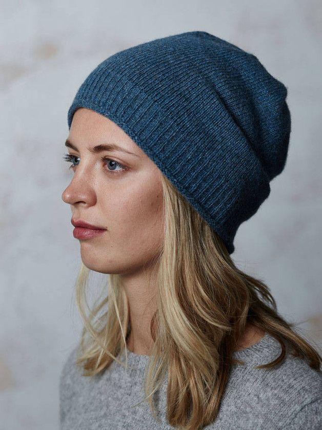 Beanies – Slouchy beanie in blue, Wool winter hat – a unique product by PappusStore on DaWanda