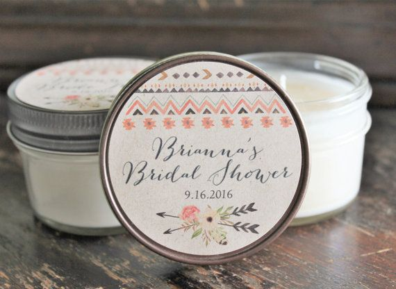 Set of 12 - 4 oz. Boho Bridal Shower Favor//Wedding Favor//Candle Favor//Tribal Wedding /Arrow Wedding Favor//Personalized Wedding Favor //