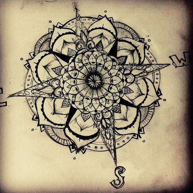 Back Leg Nautical Compass Tattoo Design photo - 1
