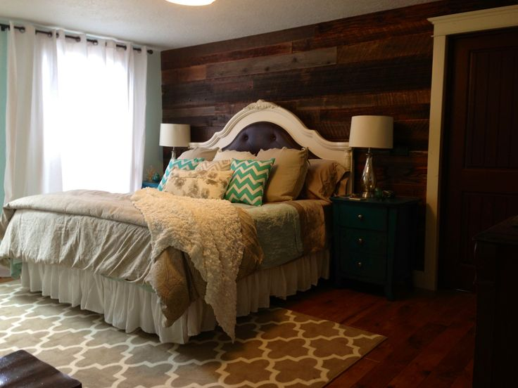 My new master bedroom barn wood walls teal night stands chevron pattern pillows the home i Master bedroom throw pillows