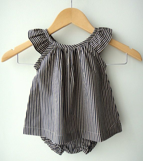 Navy Stripes Baby Girl Cotton Dress and Bloomer by bluedaisywares