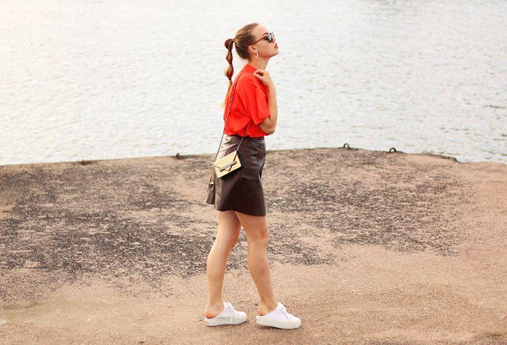 WST Leather Skirt + WST Steve Madden Shoes on ALEXANDRA'S