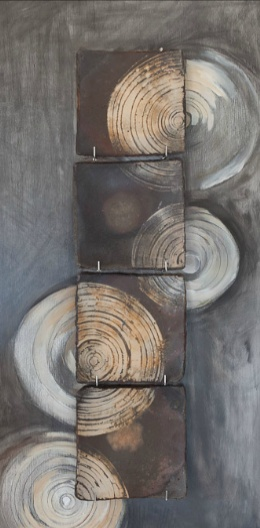 Catherine White (Ceramist) | Squared Circles plate on painted panel