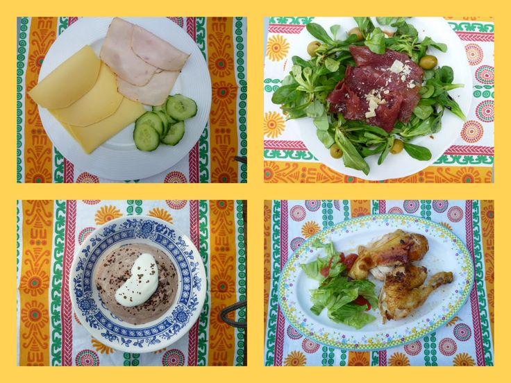 Dag 1   Ontbijt:  Omelet van 2 eieren met spinazie en chorizo   Snack: 1/2 avocado geprakt met 30 gr roquefort   Lunch : Rosbief met sla,...