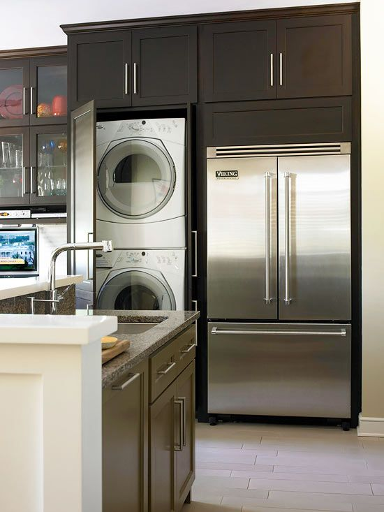 Behind a door...when every inch counts! Clever Cabinetry is same depth as fridge and works in full size W/D.