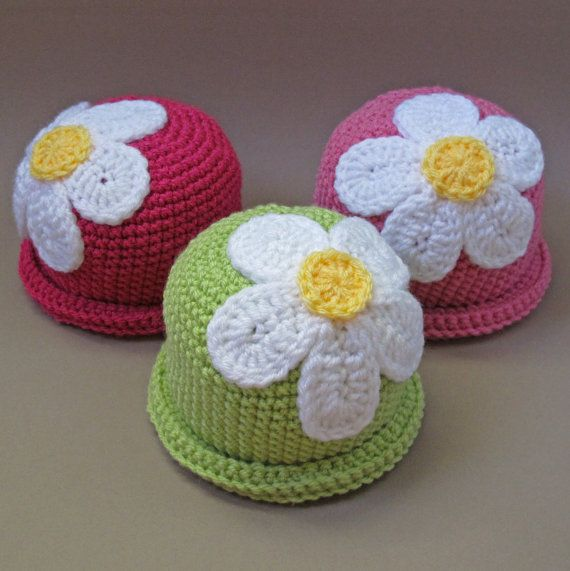 CROCHET PATTERN - Spring Fling - a beanie hat with flower in 5 sizes (Baby - Adult) - Instant PDF Download