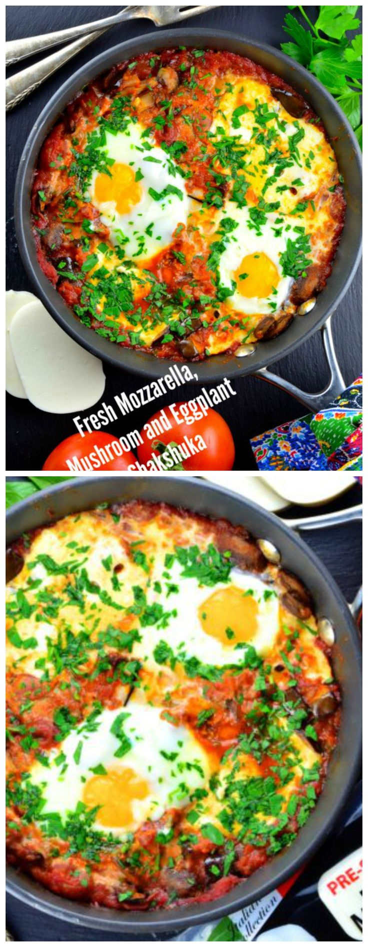 Fresh Mozzarella, Mushroom and Eggplant Shakshuka . Great vegetarian breakfast recipe for Passover and all year long. Awesome for dinner too!