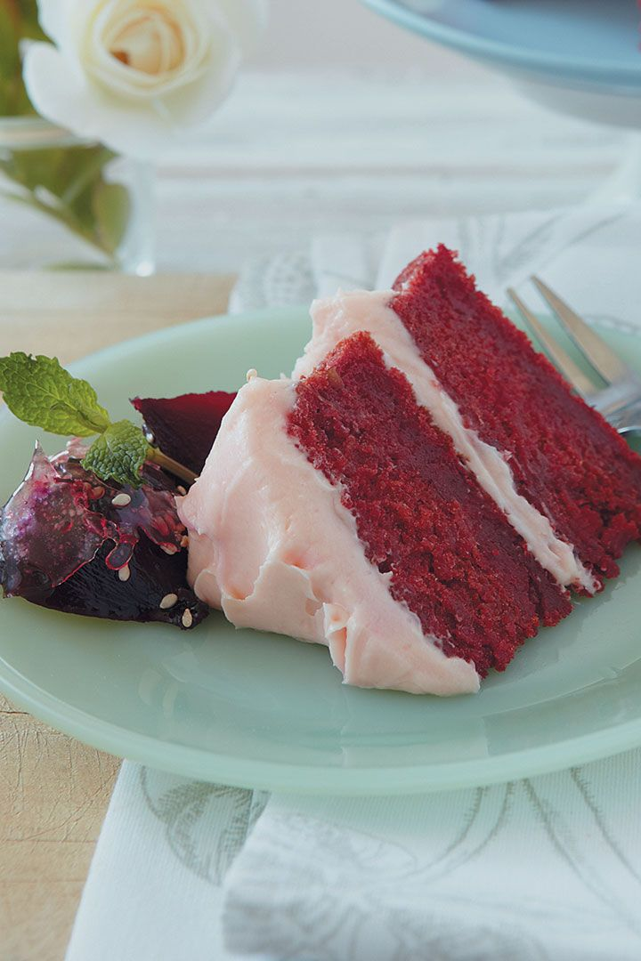 Beetroot and apple cake with rose water cream cheese is an unusual dessert, but the natural sweetness of the beets is a great flavour addition.