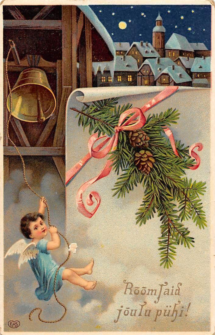 "Happy New Year! ""Roomsaid joulu puhi!"" moonlight, angel cherub, bell, fir cones | eBay"