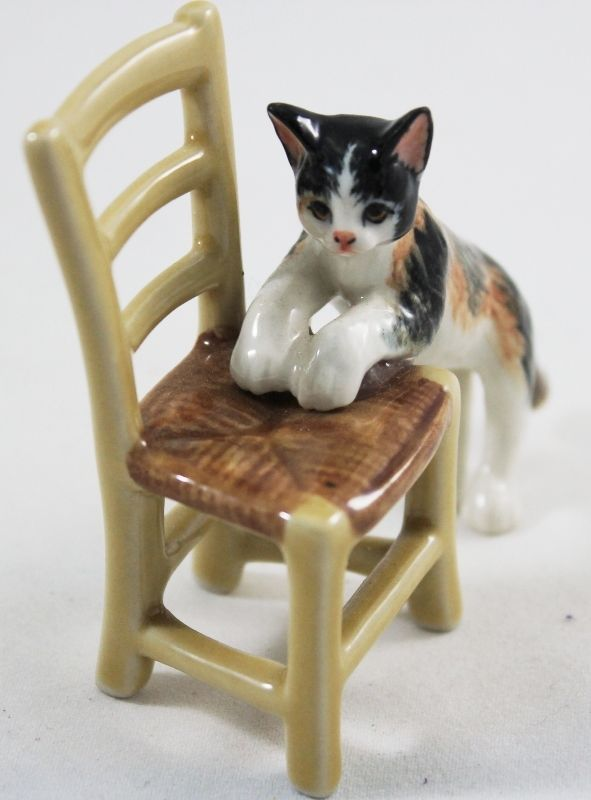 Cat Kitten Ceramic Chair Gray Handmade Craft Miniature Figuring Animal Handcraft…