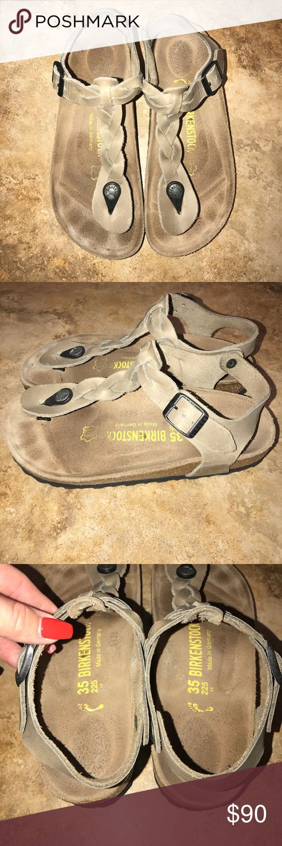 Birkenstock T-Strap These are practically new - worn only twice. Adorable gladiator look with a braided T-strap. Size 35, but fits like a women's 6. No trades. Birkenstock Shoes Sandals