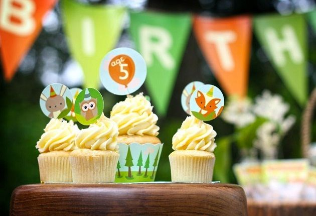 Woodland Forest or Camping theme birthday party printables- especially love the cupcake wrappers and the Happy Birthday banner