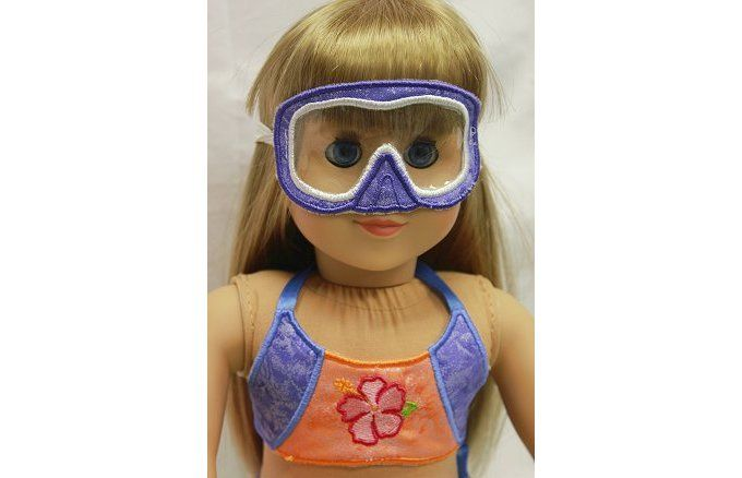 Goggles for inch dolls made in the hoop embroidery