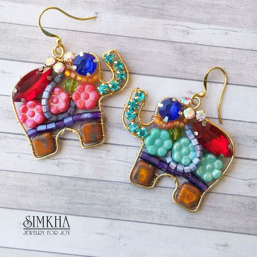 Earrings handmade. Livemaster - handmade. Buy Earrings, 'Elephants' 1 from the collection of 'Live Brightly' from Simkha.