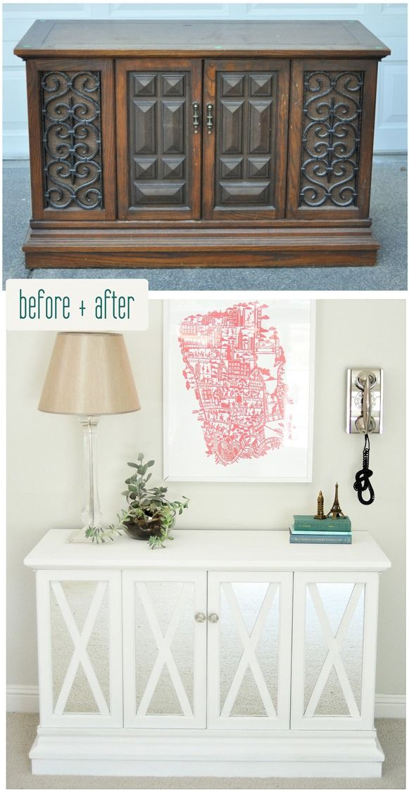 I'm in complete awe over this $10 cabinet makeover. Seriously impressive! #DIY #cabinet #makeover  Courtesy of Centsational Girl!: