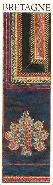 Motifs de broderie du pays de Scaër, relevés sur un costume d'homme appartenant aux collections du musée breton de Quimper. Jusqu'au début du XXeme siècle, un bouquet coloré et stylisé ornait le dos de la veste des paysans de Scaër et Bannalec. L'emploi de ce motif floral remonte à plusieurs générations. On dit ce motif ornemental inspiré du Saint-Sacrement, dont la représentation décorait traditionnellement les armoires et les lits-clos des fermes bretonnes.
