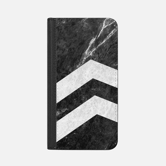 Black 2 Striped Marble - Classic Grip Case #marble #stone #texture #black #white #striped #case #iphone #wallet