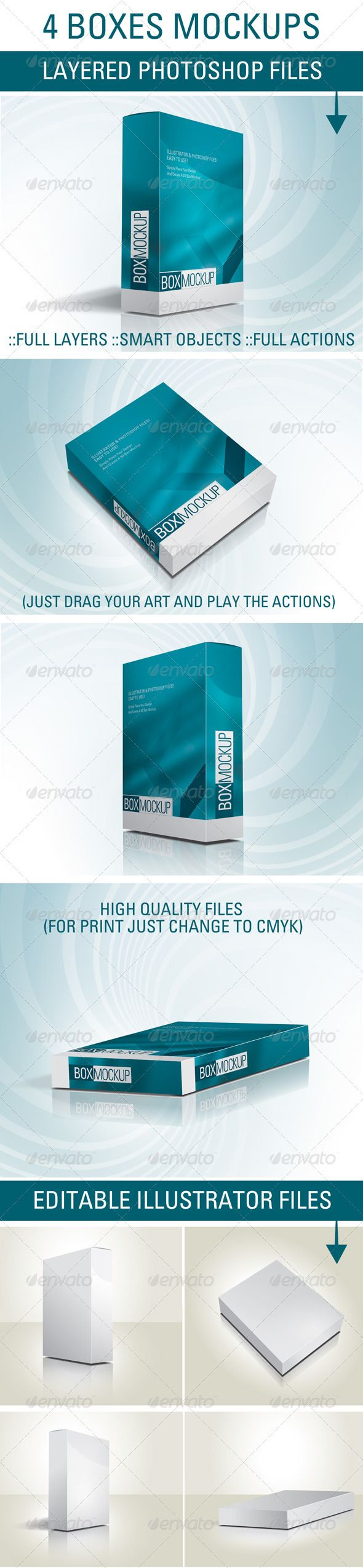 4 Box Mockup Files and Actions  #GraphicRiver         3D 4 Box Mockups Files in Both Illustrator and Photoshop Formats The Illustrator file are in CS4 and CS5 Formats including easily editable vector elements.  	 The Photoshop files are high quality files suitable for printing (approx. A4 size and 300dpi) containing easily editable smart objects and full actions and Instructions file for each box angle (front, back, top and side) Simply place your art and play the action     Created…