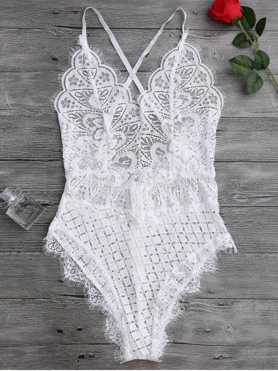 $14.74 Scaolloped Sheer Eyelash Lace Teddy Bodysuit - WHITE M