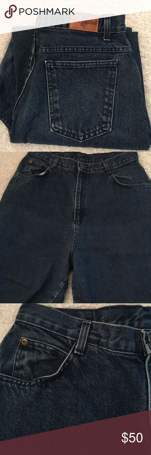 """Vintage Hunt Club High Waist Mom Jeans 100% cotton Made in USA.  Tag size 16.  Measurements Laid Flat; 16.5"""" Waist; 14"""" Rise; 30"""" Inseam Hunt Club Jeans"""