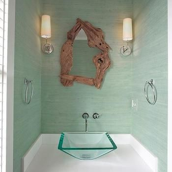 Powder Room With Mint Green Grasscloth Best Bathrooms